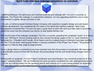 Spirit Cube Interface redesign completion on schedule