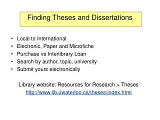 Finding Theses and Dissertations
