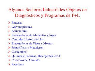 Algunos Sectores Industriales Objetos de Diagn sticos y Programas de PL