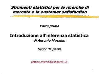 Strumenti statistici per le ricerche di mercato e la customer satisfaction
