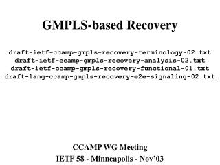 CCAMP WG Meeting IETF 58 - Minneapolis - Nov'03