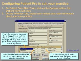 Configuring Patient Pro to suit your practice