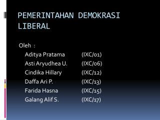 PEMERINTAHAN DEMOKRASI LIBERAL