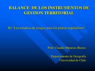 BALANCE  DE LOS INSTRUMENTOS DE GESTION TERRITORIAL