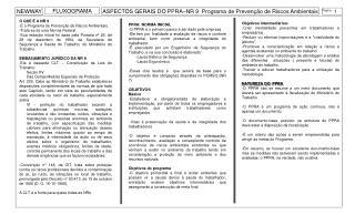 ASPECTOS GERAIS DO PPRA–NR 9  Programa de Prevenção de Riscos Ambientais