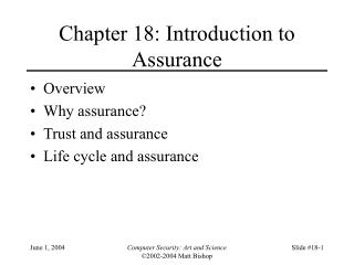 Chapter 18: Introduction to Assurance