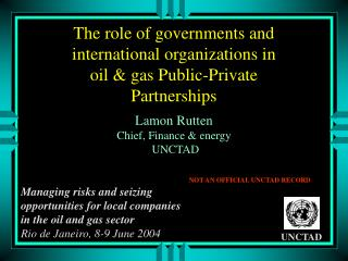 The role of governments and international organizations in oil & gas Public-Private Partnerships