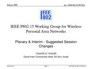 IEEE P802.15 Working Group for Wireless Personal Area Networks
