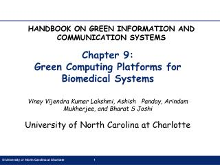 Chapter 9:  Green Computing Platforms for Biomedical Systems