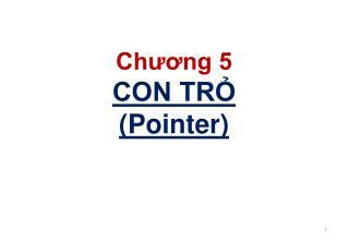 Chương 5 CON TRỎ (Pointer)