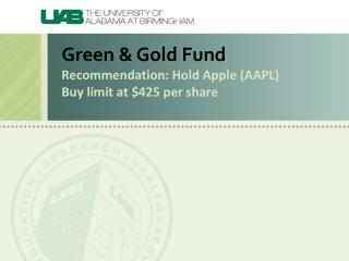 Green & Gold Fund Recommendation: Hold Apple (AAPL ) Buy limit at $425 per share