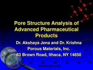 Pore Structure Analysis of Advanced Pharmaceutical Products