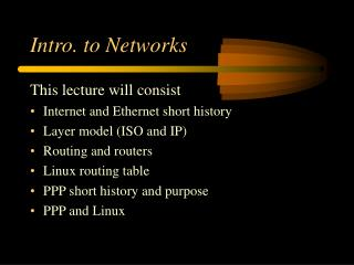 Intro. to Networks