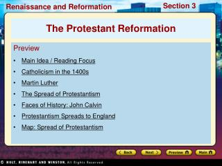 Preview Main Idea / Reading Focus Catholicism in the 1400s Martin Luther