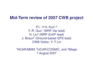CWB Project Tasks: