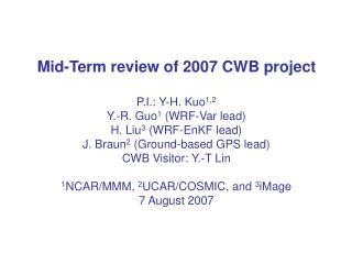 CWB Project Tasks:
