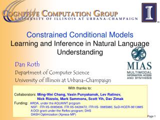 Constrained Conditional Models  Learning and Inference in Natural Language Understanding