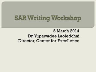 SAR Writing Workshop