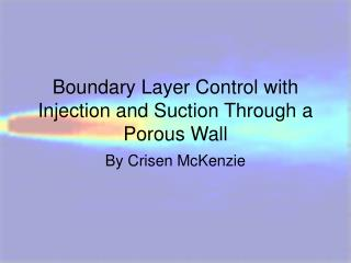 Boundary Layer Control with Injection and Suction Through a Porous Wall
