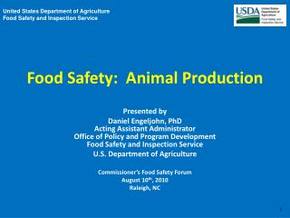 Food Safety:  Animal Production