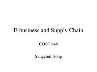 E-business and Supply Chain