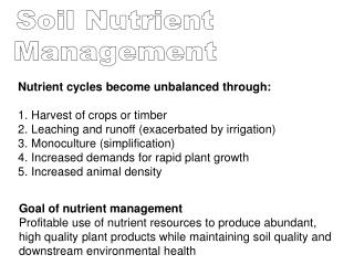 Nutrient cycles become unbalanced through: Harvest of crops or timber