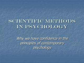 Scientific methods in psychology