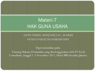 Materi-7 HAK GUNA USAHA
