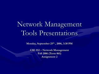 Network Management Tools Presentations