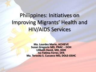 Philippines: Initiatives on Improving Migrants' Health and HIV/AIDS Services