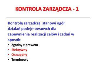 KONTROLA ZARZĄDCZA - 1