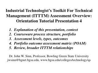 Industrial Technologist's Toolkit For Technical  Management (ITTTM) Assessment Overview: