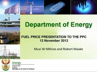 FUEL PRICE PRESENTATION TO THE PPC 13 November 2012