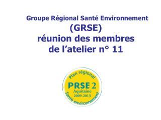 Groupe Régional Santé Environnement  (GRSE) réunion des membres del'atelier n° 11
