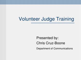 Volunteer Judge Training