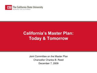 California's Master Plan:  Today & Tomorrow