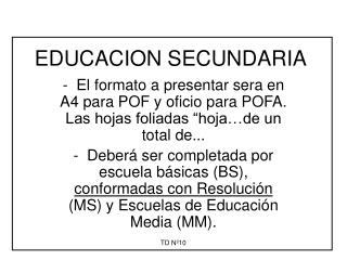 EDUCACION SECUNDARIA