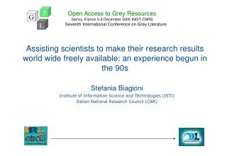 Stefania Biagioni Institute of Information Science and Technologies (ISTI)