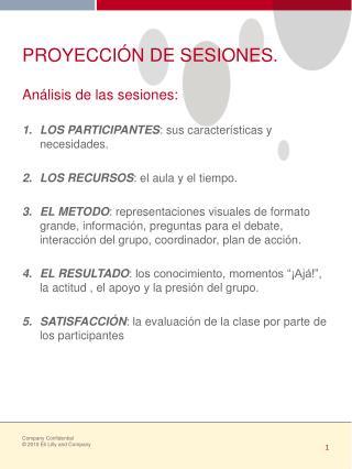 PROYECCIÓN DE SESIONES.