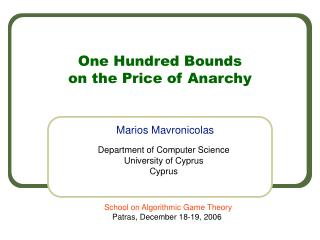 One Hundred Bounds  on the Price of Anarchy