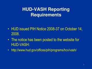 HUD-VASH Reporting Requirements