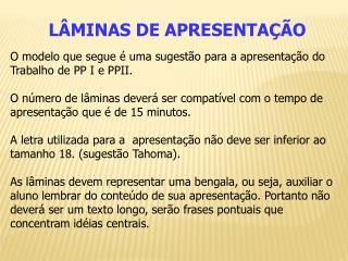L�MINAS DE APRESENTA��O