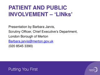 PATIENT AND PUBLIC INVOLVEMENT – 'LINks'