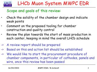 LHCb Muon System MWPC EDR