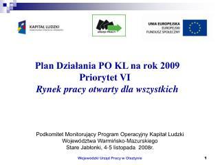 Plan Działania PO KL na rok 2009 Priorytet VI   Rynek pracy otwarty dla wszystkich