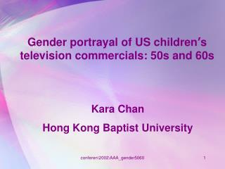 Gender portrayal of US children s television commercials: 50s and 60s