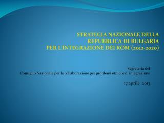 Segreteria del  Consiglio Nazionale per la collaborazione per problemi etnici e d� integrazione