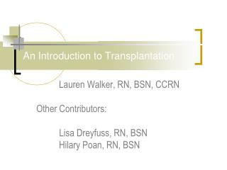 An Introduction to Transplantation