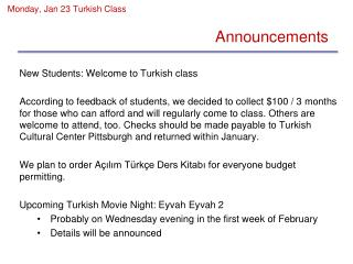 Monday, Jan 23 Turkish Class