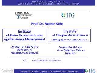 Institute  of Farm Economics and Agribusiness Management